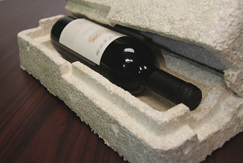 Ecovative compostable packing for wine bottles